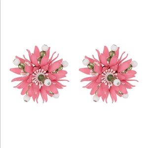 Moschino Pink Floral Clip-On Earrings